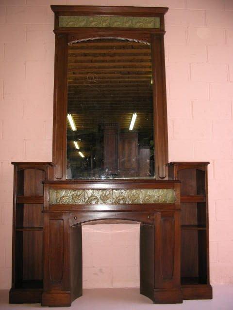 18: Fine Art Nouveau Fireplace Mantel with Tiles