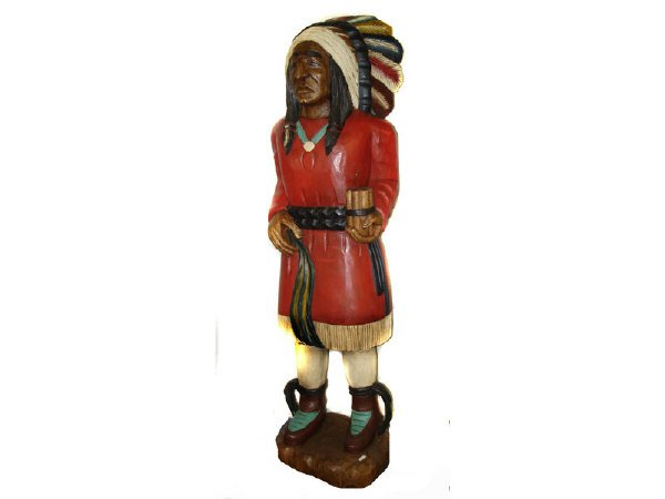 52: Life Size Wooden Cigar Store Indian Figure