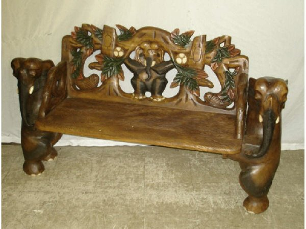 41B: Solid Hand Carved Figural Elephant Bench