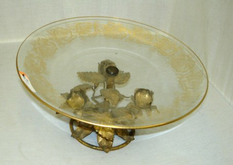 42C: Hand Decorated Italian Compote with Floral Decor