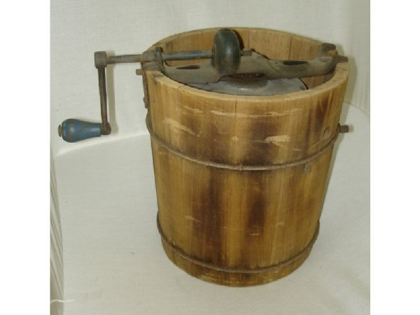 43A: Antique Wooden Ice Cream Maker