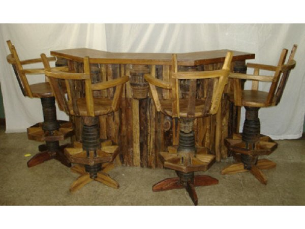 45: Rustic Wagon Wheel Style Bar and Barstools