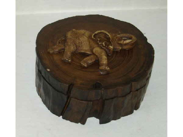46B: Carved Wooden Box with Elephant Effigy Figure