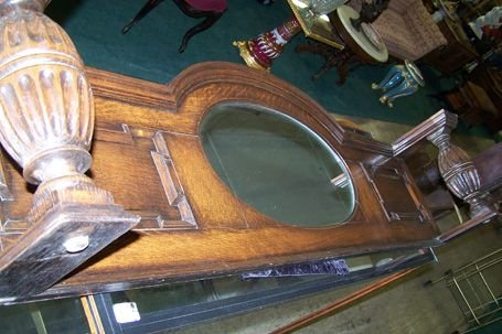 43D: Oak Sideboard Top or Over Mantel Mirror