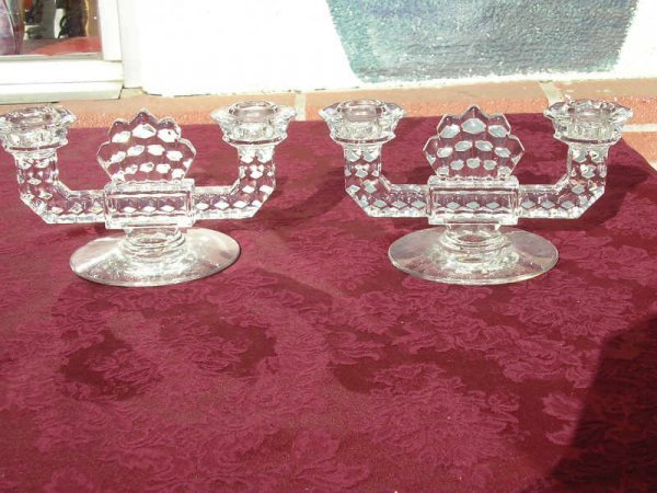 1011: Pair of Fostoria Americana Double Candle Holders