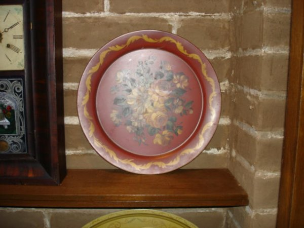 4011: Round Red  Tole Tray hand painted