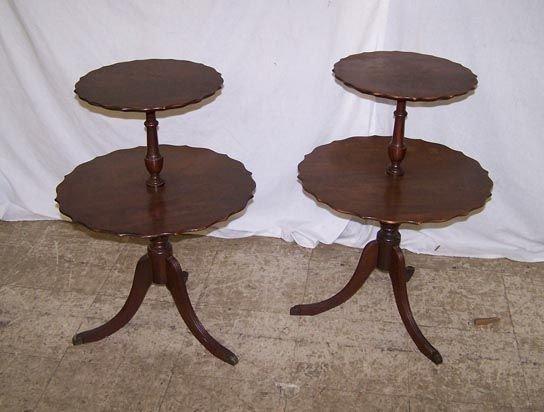 7000: Pair of Mahogany 2 Tier Tables