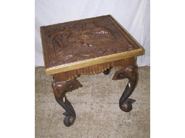 7001: Heavy Relief Carved Elephant Figural Table