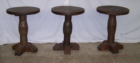 7009: Lot of  3 Rustic Wagon Wheel Tables