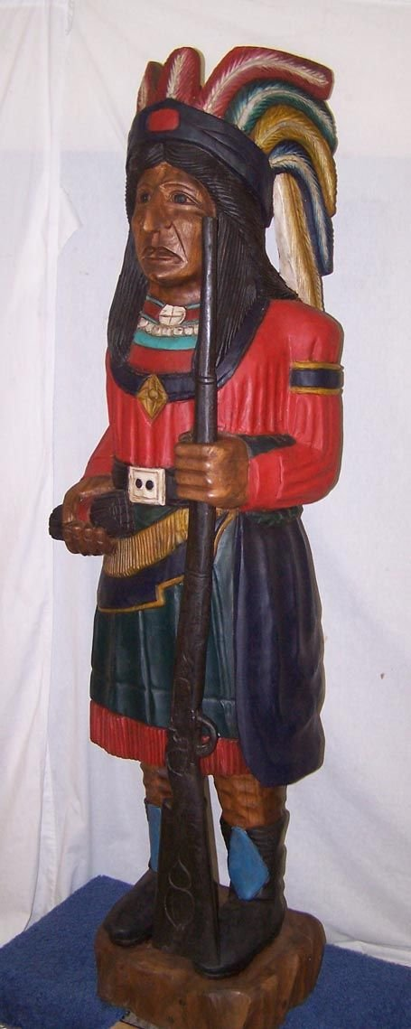 7009B: Life Size Cigar Store Indian Figure Hand Carved