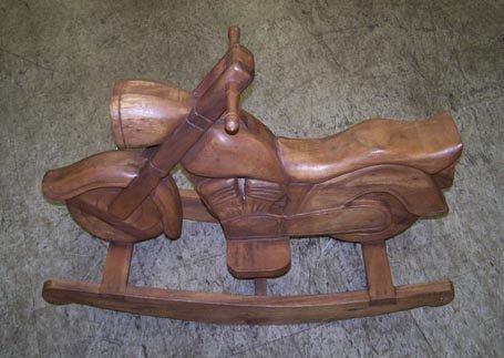 7009L: Carved Teakwood Motorcycle Rocking Toy