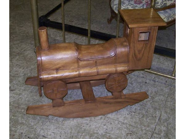7009M: Carved Teakwood Train Rocking Toy