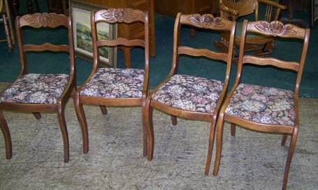 7009N: Set of 4 Flower Carved Mahogany Chairs