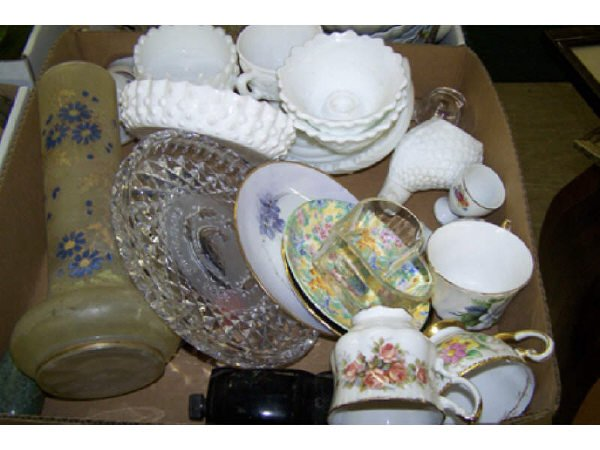 6: Boxed Lot Assorted Milk Glass and More