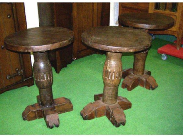 203: Lot of 3 Wagon Wheel Hub Tables