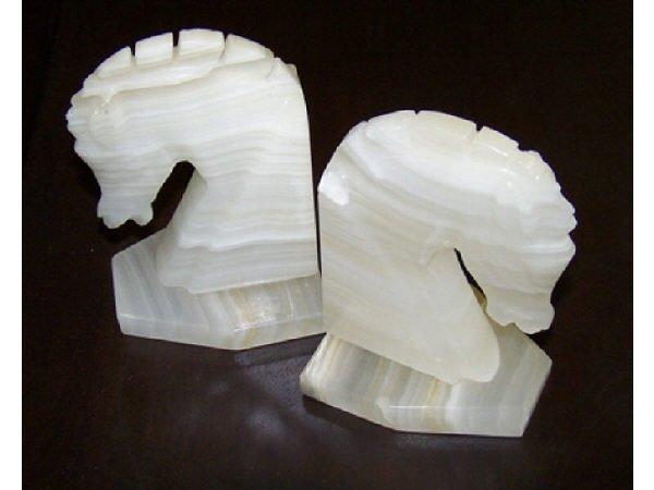 554: Alabaster Horse Head Book Ends