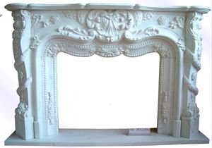 1011:Hand Carved Marble Fireplace Mantel Fancy