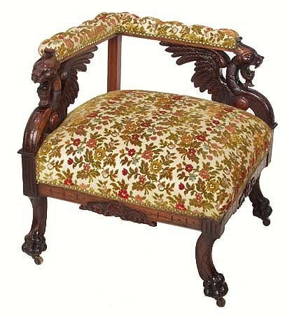 1014: Rosewood Carved Griffin Corner Chair 19th Century