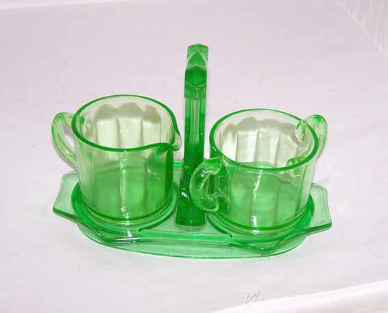 1398: Green Depression Glass Cream and Sugar Set
