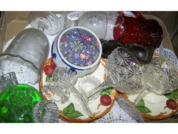 1300: Boxed Lot of Assorted Glass and Porcelain