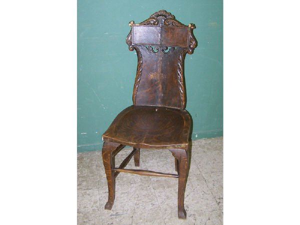 1307: Carved Oak Side Chair