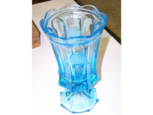 1310: Blue Coin Glass Vase