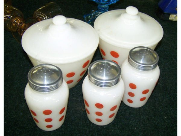 1316: 5 Pc. Lot of Polka Dot  Kitchen Items