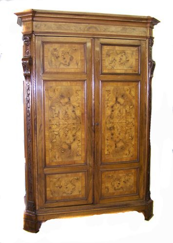 2: Fine Burled Walnut Armoire Cabinet