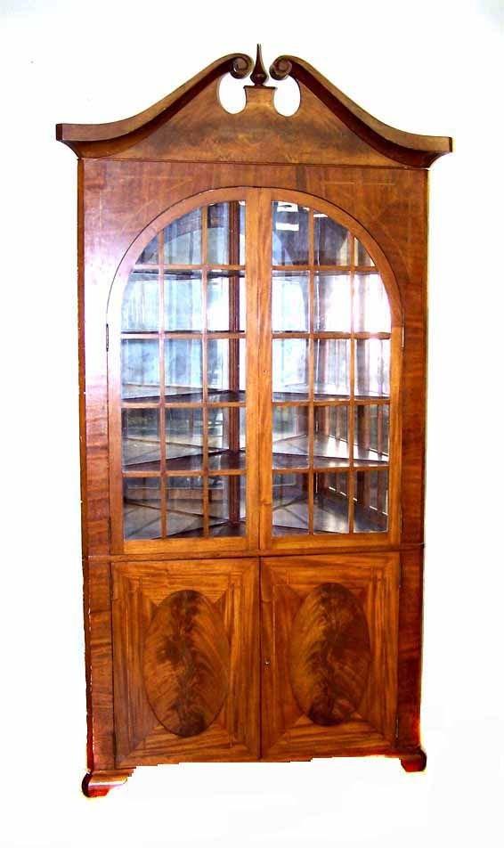 9: Large Federal Revival Mahogany Corner Cabinet