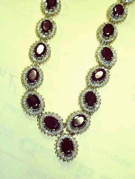 11: Fine 40 ct. Red Ruby Necklace with 8.03 cts. Diamon