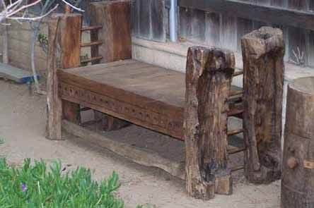 13: Hand Carved Rough Hewn Bench
