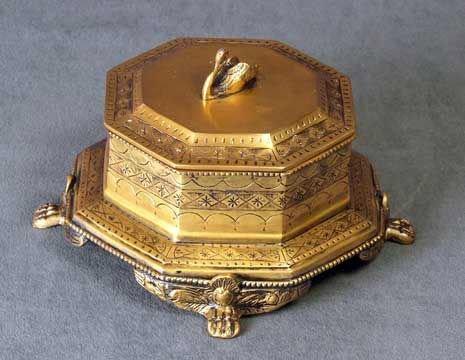 20: Swan Design Brass Footed Cache Box