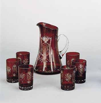 24: Hand Cut Ruby Red Water Set 7 pcs.