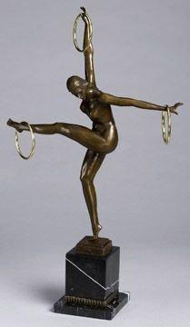 31: Semi Nude Figural Art Deco Bronze Figural Woman