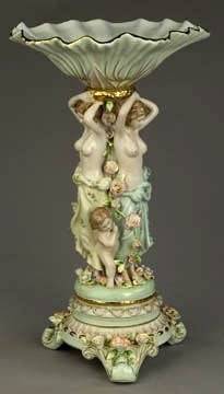 1751: Fine Dresden Tall Nude Porcelain Compote