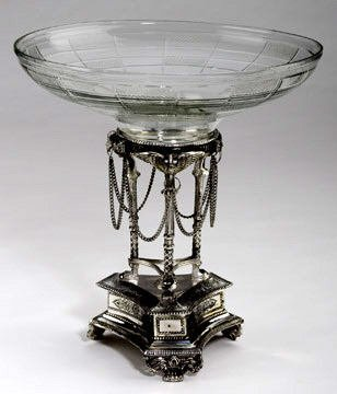 1752: French Crystal and SIlver Compote