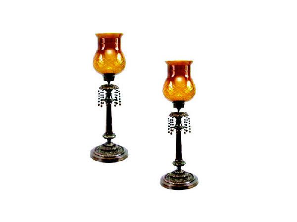 1755: Pair Etched Glass Fancy Candlesticks