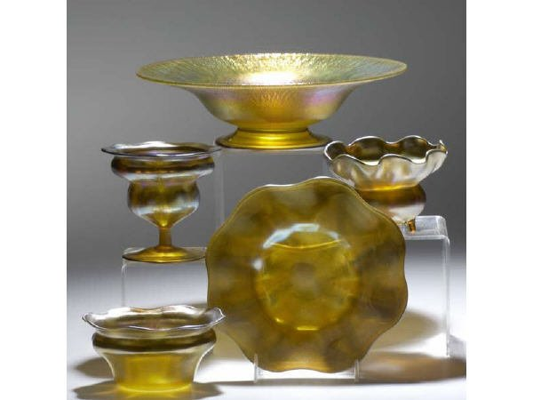 1758: Lot of 5 LCT Tiffany Favrile Glass Items