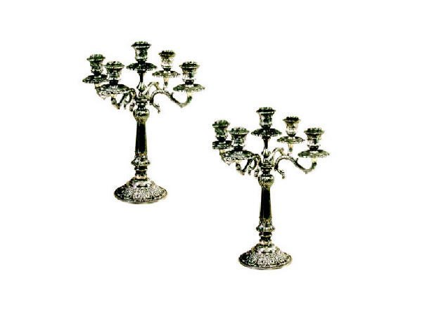1766: Pair of Fancy Embossed Silver Plated Candlesticks