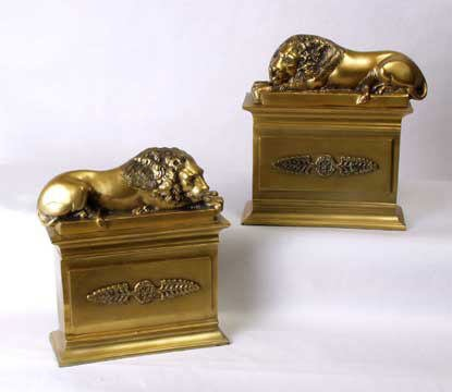 1773: Pair of Polished Bronze Lion Bookends