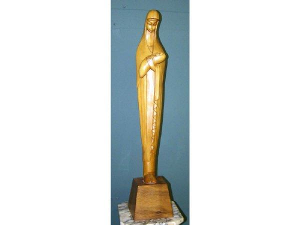 204: Modernism Wooden Carved Madonna Statue