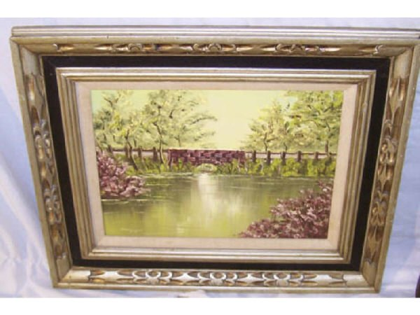 175: Oil on Canvas of River and Bridge