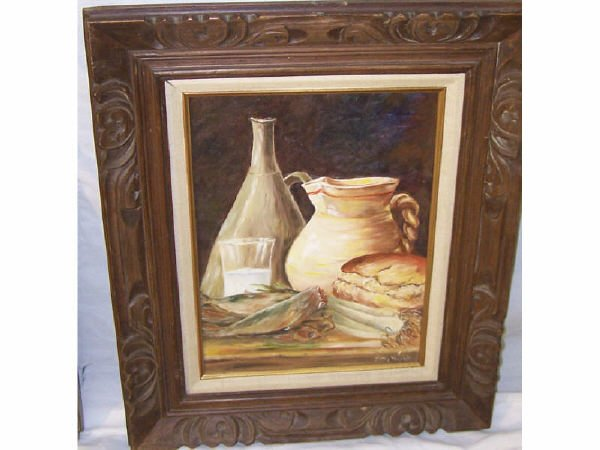 176: Still Life Oil Painting of Vessel and Food