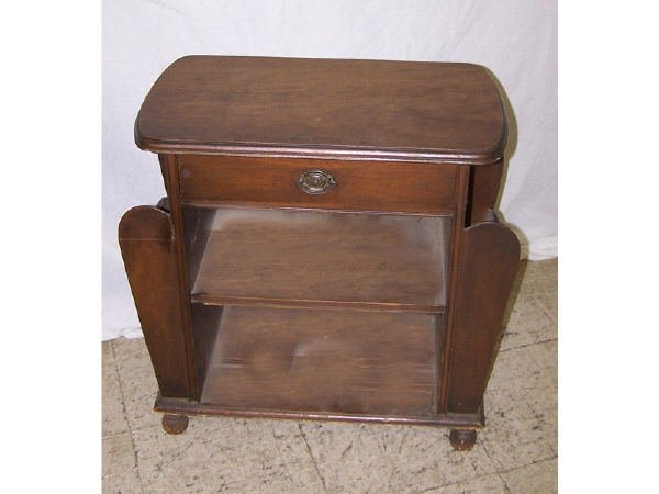 1370: 1930s Walnut Magazine Table with Drawer