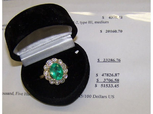 1589: Appraised Emerald and Diamond Ring