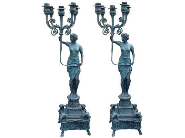 406: Large Classical Female Form Candle Sticks