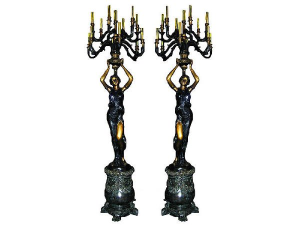 421: Monumental  Figural Candle Sticks