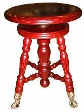 1854: Wooden Glass Ball Foot Piano Stool