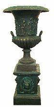 1872: Large Casted Iron Urn and Stand