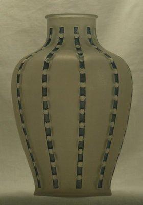 3112: Fine R. Lalique Bandes De Roses Vase Blue Patina